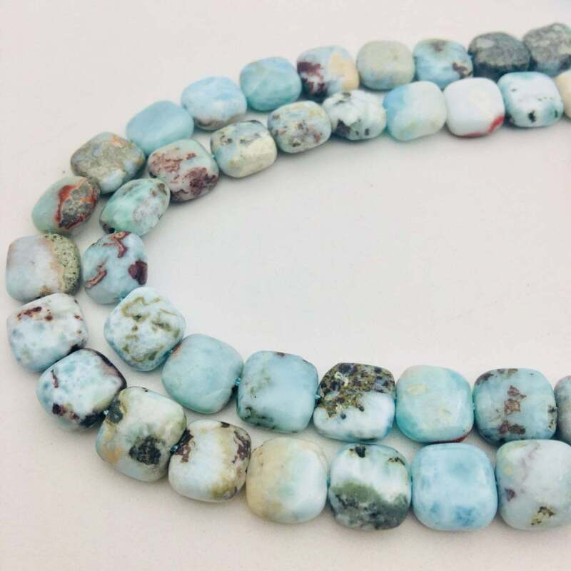 """Natural Larimar Smooth Flat Square Beads Approx 10mm 15.5"""" Strand"""