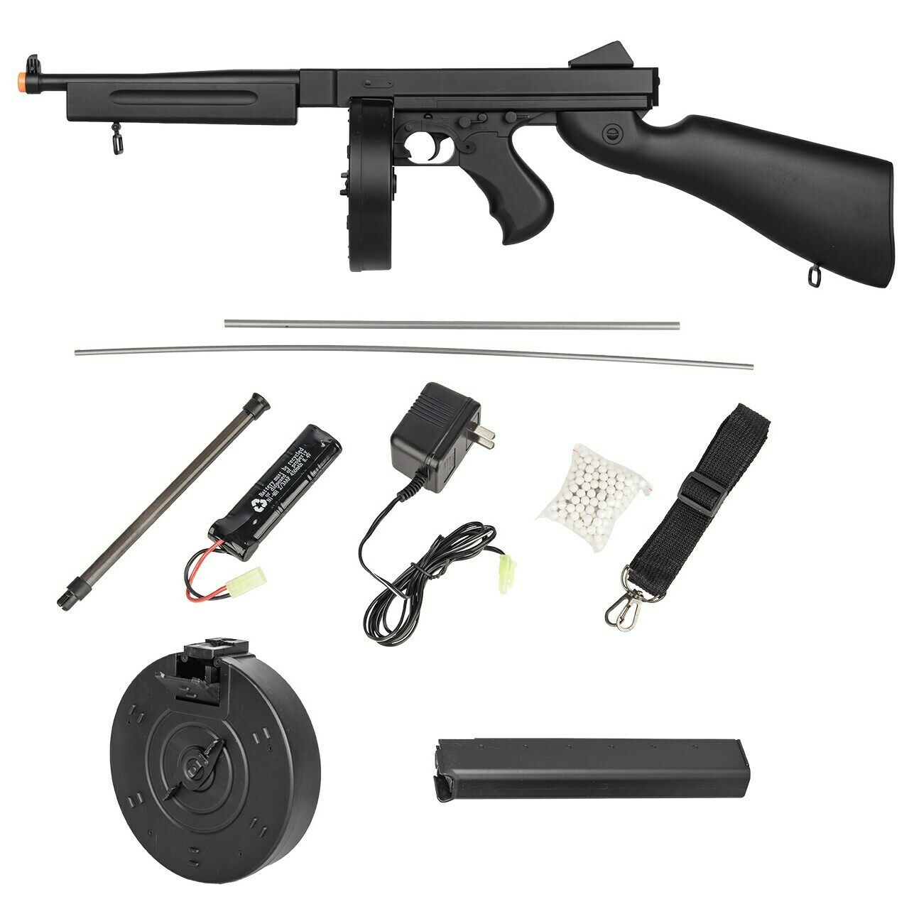 300 FPS FULL AUTO AIRSOFT TOMMY GUN THOMPSON M1A1 ELECTRIC AEG RIFLE w/ 6mm  BB