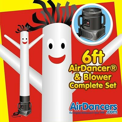 White Air Dancers Inflatable Tube Man 14 Hp Sky Dancer Blower Set 6ft