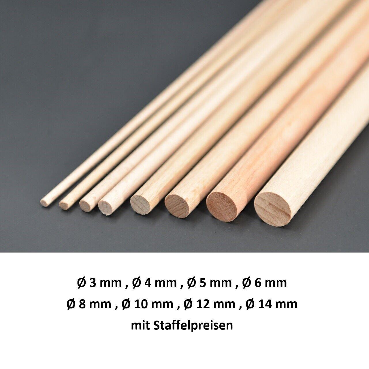 Rundstab Buche 100 cm Bastelstab Holzstab glatt Rundstäbe Ø 3,4,5,6,8,10,12,14mm