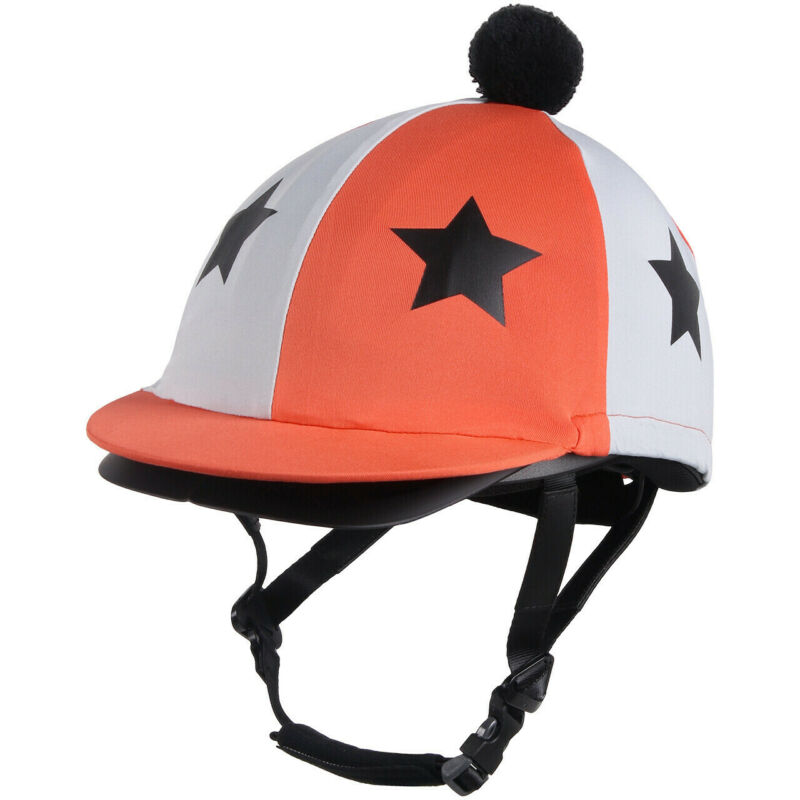QHP Vegas Helmet Cover - Flame orange & white with stars QHP