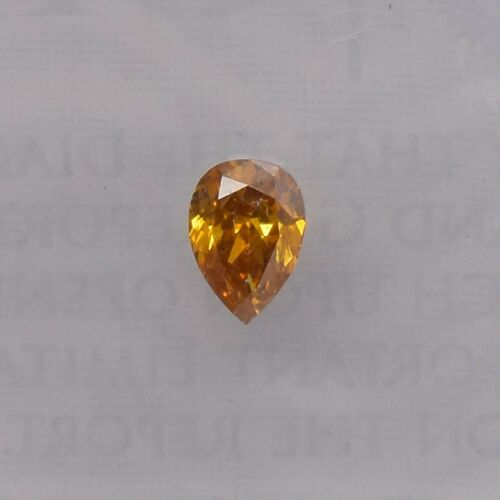 0.16 Carat Fancy Deep Yellow Orange Loose Diamond Natural Color Pear Shape GIA