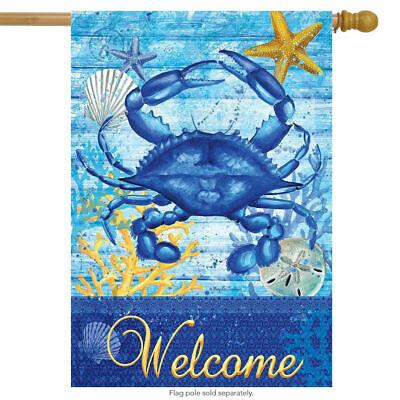 F116 WELCOME BLUE CRAB BEACH OCEAN NAUTICAL STARFISH  HOUSE FLAG 28X40 BANNER