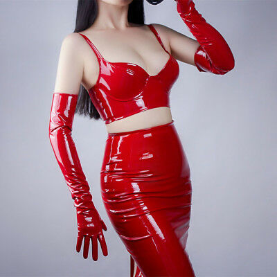 Shine Red Gloves Faux Patent Leather Extra Long 60cm Cosplay Costume Wedding](Red Long Gloves)