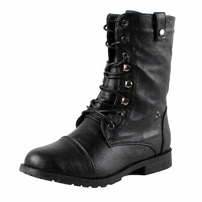Guilty Heart | Womens Lagos Combat Boots Boots, Black Pu, 7 B(M) US