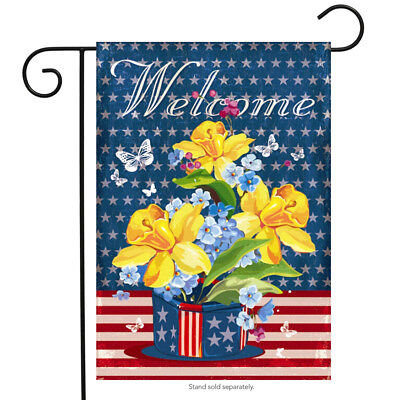 Patriotic Welcome Floral Garden Flag Daffodils Red White and Blue 12.5