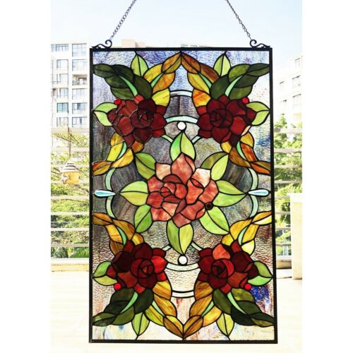 "Window Panel Mission Floral Stained Glass Tiffany Style 20"" Wide 32"" Tall"