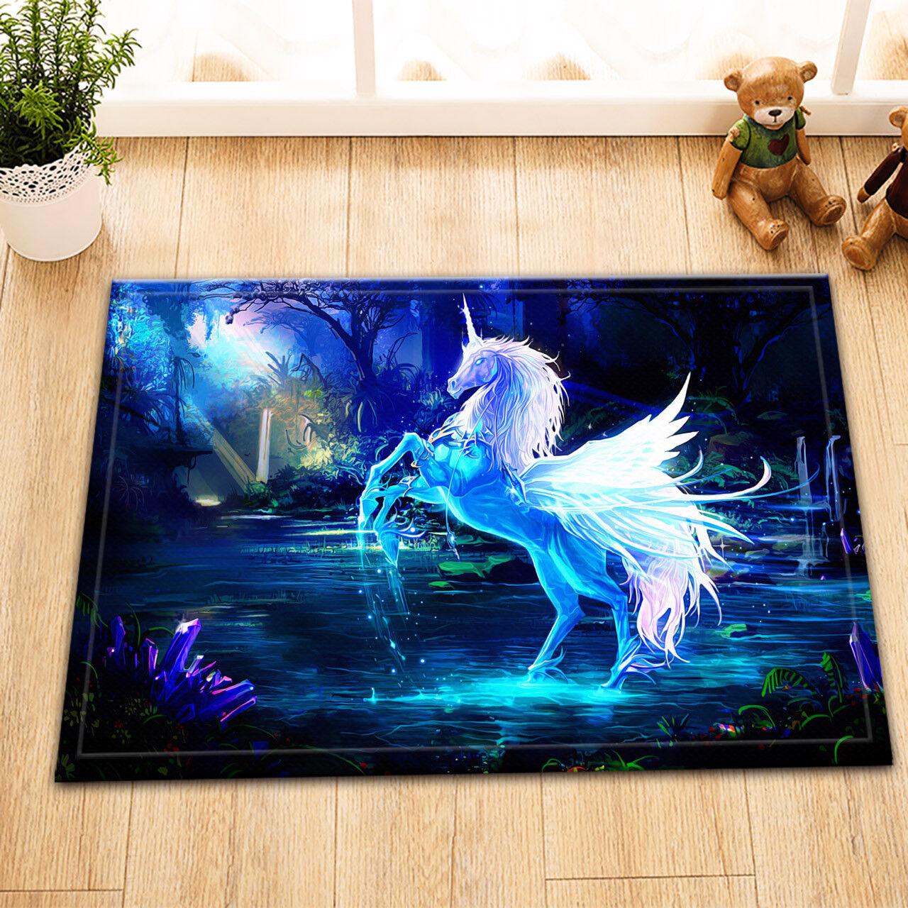 "24x16""Bath Mat Rug-Halloween Colorful Hair Unicorn-Non-Slip Door Bathroom Carpet"