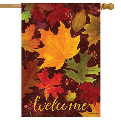 Falling Leaves Welcome House Flag Autumn Colored Leaves 28""