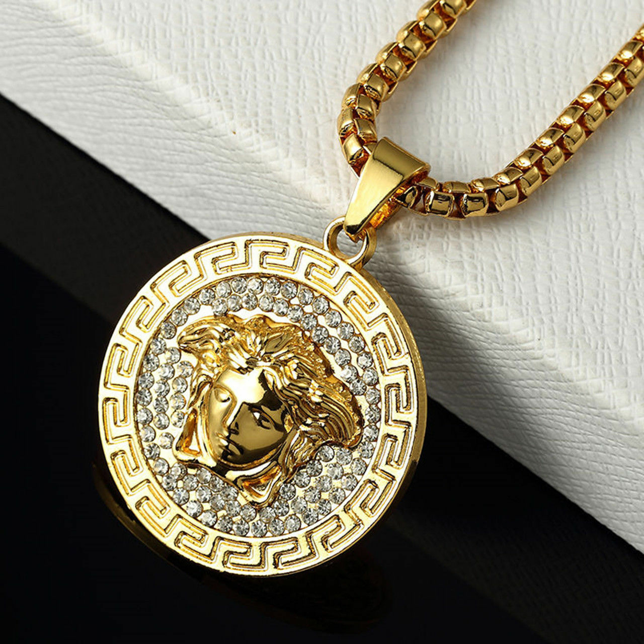 Men's Style Medusa Head Gold Plated Crystal  Stone Pendant & Necklace 14 K GOLD