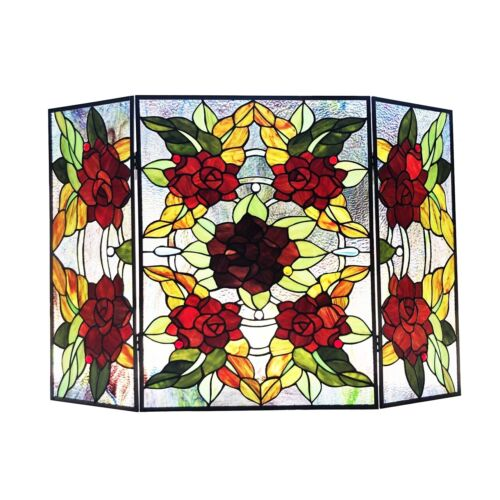 Stained Glass Fireplace Screen Flowers Floral Design Home Decor