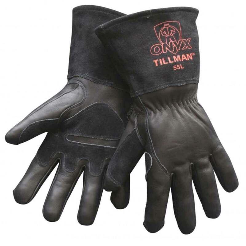 Tillman 55 Onyx Black Top Grain/Split Cowhide MIG Welding Gloves Medium