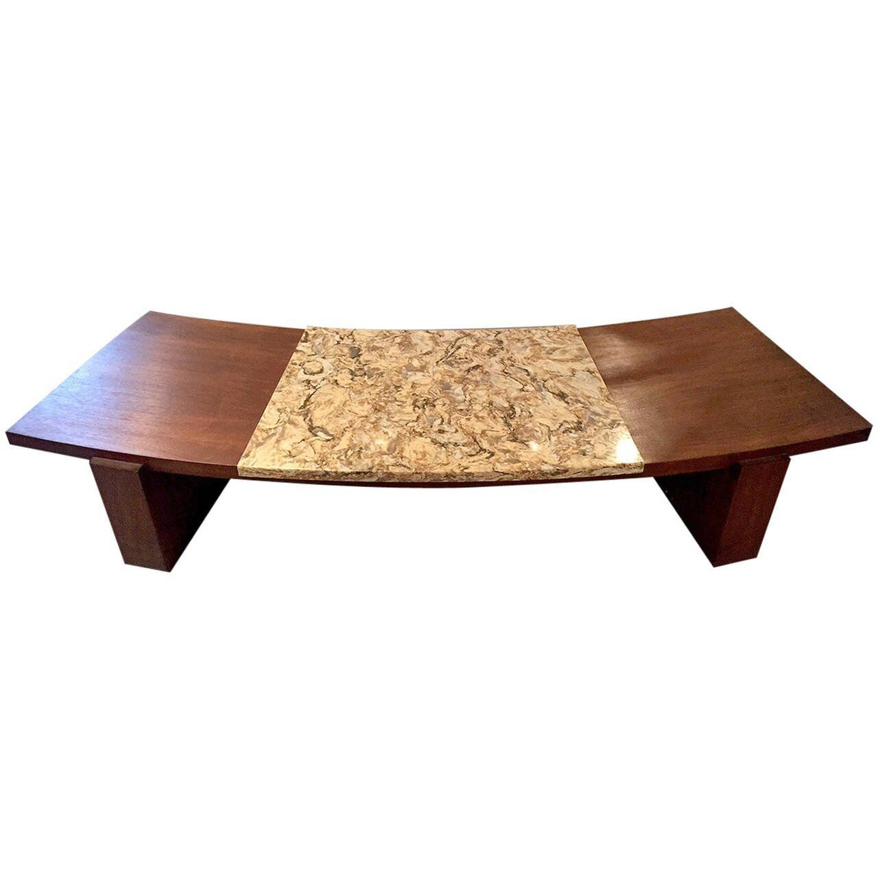 Kagan Coffee Table.Details About Early Walnut And Marble Curvy Coffee Table By Vladimir Kagan