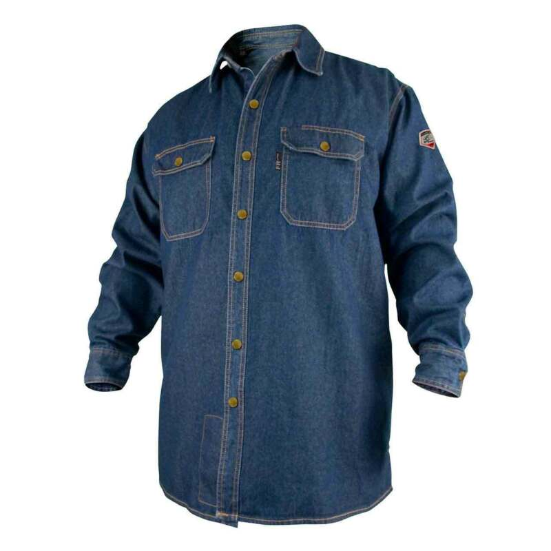 Black Stallion FS8-DNM FR Cotton Denim Long Sleeve Work Shirt Large