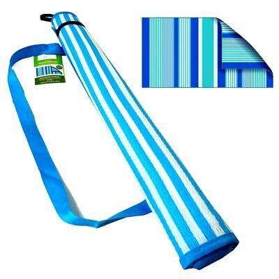 Beach Outdoor Mat BLUE Stripe Rug Camping Straw Sand Sandless Blanket Picnic - Beach Straw Mat