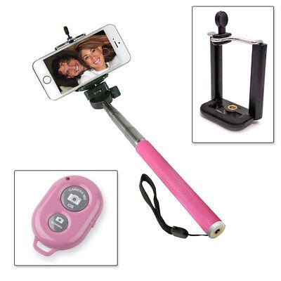 Selfie Stange Teleskop Stick Stab Monopod iOS Android Fernbedienung Pink