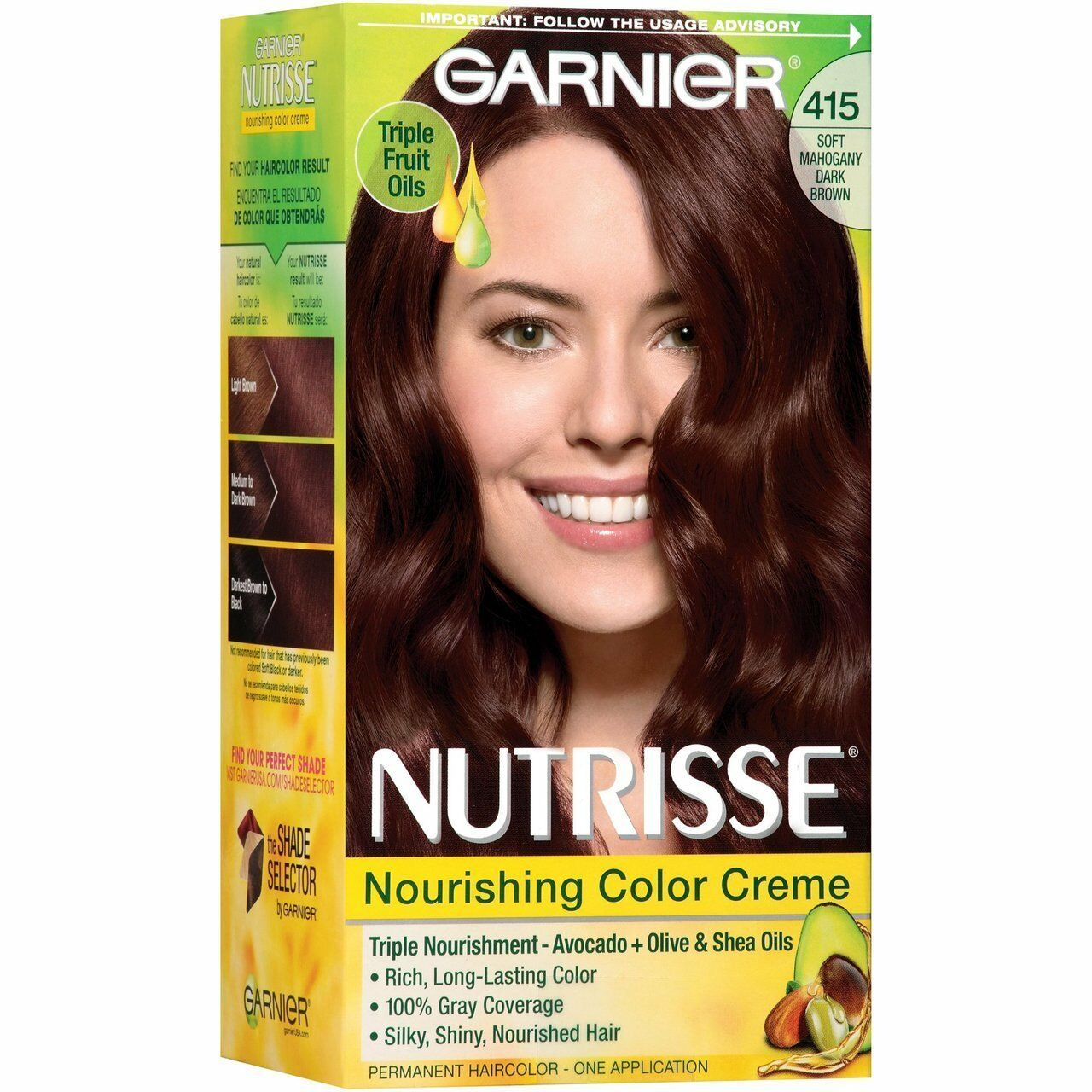 Garnier Nutrisse Nourishing Color Creme 415 Soft Mahogany Dark Brown