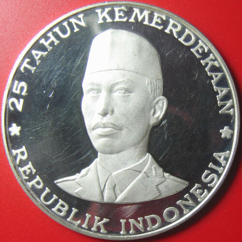 1970 INDONESIA 1000 RUPIAH SILVER PROOF GENERAL SUDIRMAN INDEPENDENCE RARE! 55mm