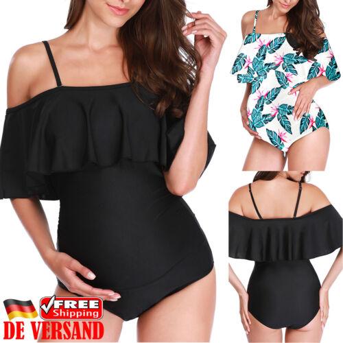 Umstandsmode Bademode Rüschen Badeanzug Monokini Schwimmanzug Bodycon Beachwear