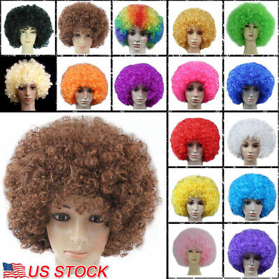Clown Hair Wig (Afro Hair Curly Wig Role Play Clown Cosplay Party Rainbow Football Fan)