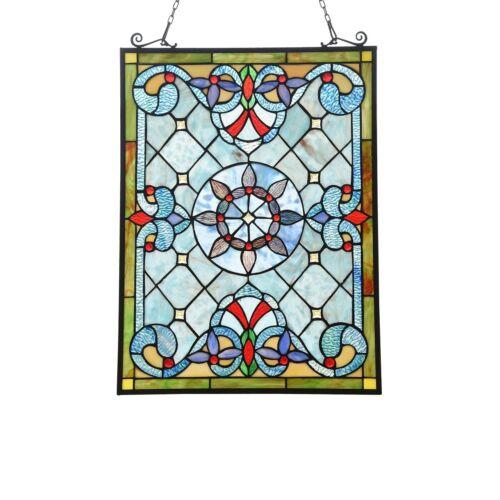 "24"" x  17"" Victorian Tiffany-Style Cornflower Anis Stained Glass Round window"