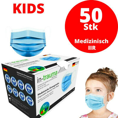 50 Medizinische Kinder Masken OP Maske Mundschutz Atemschutz EN14683 BLAU