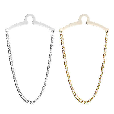 2pc Mens Necktie Link Tie Chain Silver / Gold Metal Tack Clip Clasp Tack Jewelry