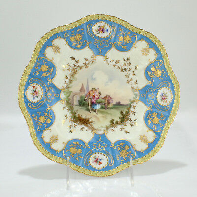 Exceptional Pirkenhammer Cabinet Hand Painted Plate W Raised Gold  - PC