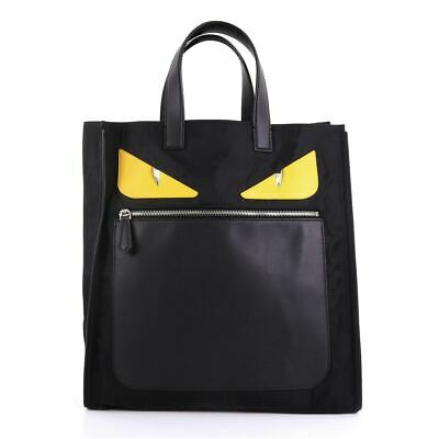 FENDI Monster Black Yellow Nylon Leather Square Top Handle Pocket Tote Bag M