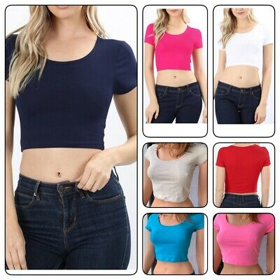 Crop top scoop neck short sleeve fitted tee casual stretch cotton solid top(S-L)](Top Deals)