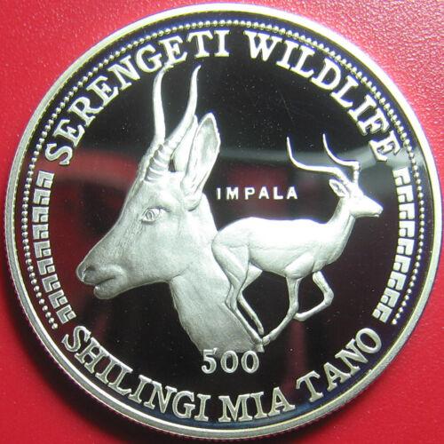 1998 TANZANIA 500 SHILINGI 1oz SILVER PROOF IMPALA ANTELOPE SERENGETI WILDLIFE