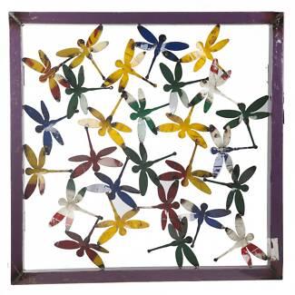 ee-i-ee-i-o Metal Outdoor Dragonfly Framed Wall Art Panel