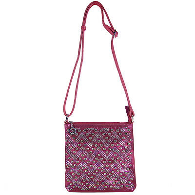 NESTONE CHEVRON MESSENGER CROSS BODY WESTERN BLING SATCHEL (Hot Pink Chevron)