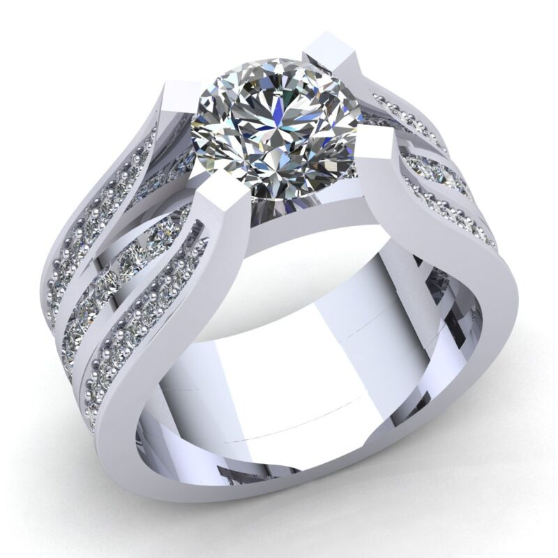 Natural 4ct Round Cut Diamond Ladies Solitaire Proposal Engagement Ring 14k Gold