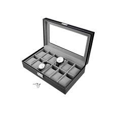 Black Leather Watch Display Case Collection Storage Organizer Box 12 slots grids