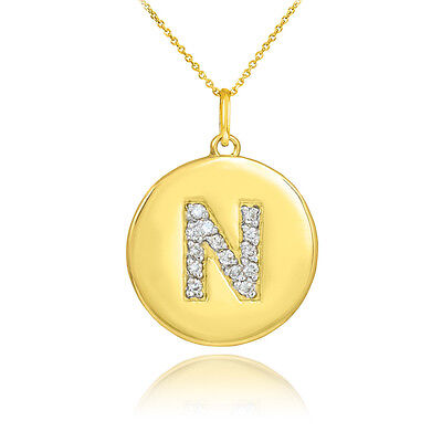 "10k Yellow Gold Letter ""N"" Initial Diamond Disc Charm Pendant Necklace"