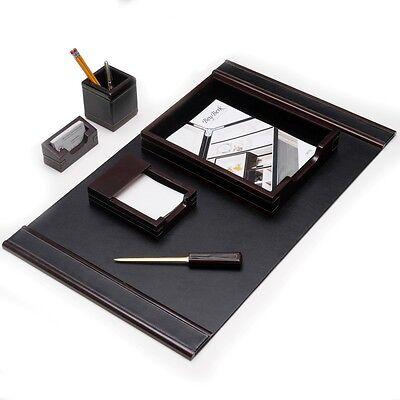 Bey-berk Wood Black Leather 6pc Desk Set