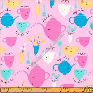 FREE-SPIRIT-TEA-PARTY-TEACUPS-TEAPOTS-SAYINGS-WORDS-FABRIC-1-2-YD-18-X-44-PNK