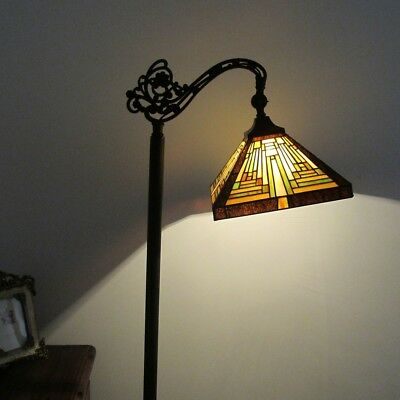 Tiffany Style Mission 1 Bulb Reading Stained Glass Floor Lamp 11