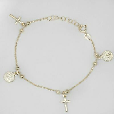 14k Gold Over Solid 925 Silver Rosary Beads Bracelet Catholic Rosario 6.5-7.5