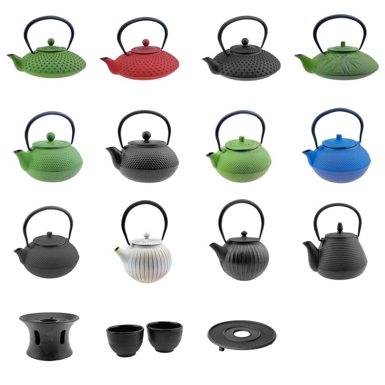 Asiatische Gusseisen Teekanne inkl. Teesieb Kaffeekanne Kanne Tassen Stövchen