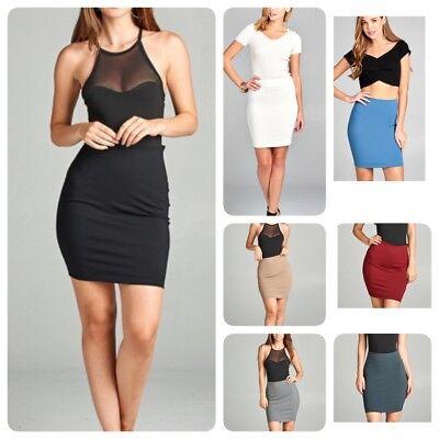 Woman Juniors Fitted High Waist  Ponte Mini Skirt (Ponte Mini)