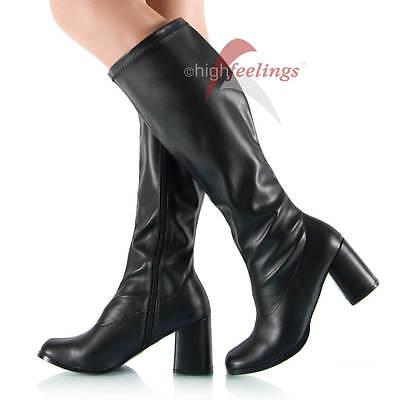 Damen Stiefel Weitschaft Blockabsatz Stretch Schwarz ca. 8 Absatz Gr. 38 - 46