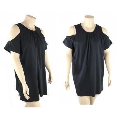 Roamans Top Women Plus 1X Relaxed Knit Comfort 100  Cotton Cold Shoulder New