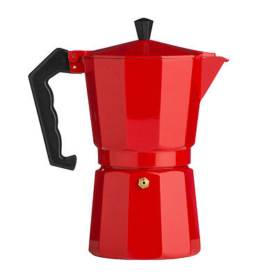 New Italian 6 Cup Red Aluminium Espresso Maker Stove Top Coffee Machine Moka Pot