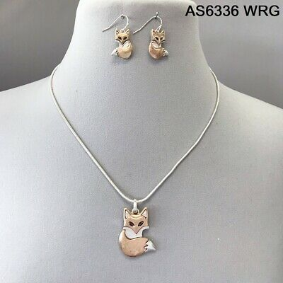 Fox Rose Necklace - Rose Gold Silver Color Snake Link Chain Animal Fox Pendant Necklace Earrings Set