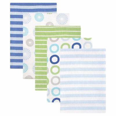 Luvable Friends Boy Flannel Receiving Blankets, 5-Pack, Blue Pinwheels