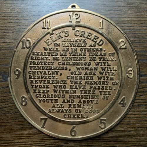 """solid bronze Elks Creed 11th Hour clock face plaque 1900s brotherhood 11"""""""