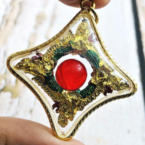 Naga Eye Leklai Nakabat Snare Healing Crystal Thai Amulet Watbangpha Red #15883
