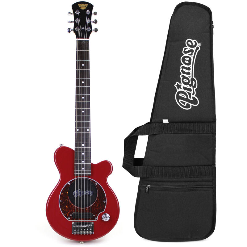 Pignose PGG-200 Mini Electric Travel Guitar w/ Built-In Amp & Gig Bag, Candy Red